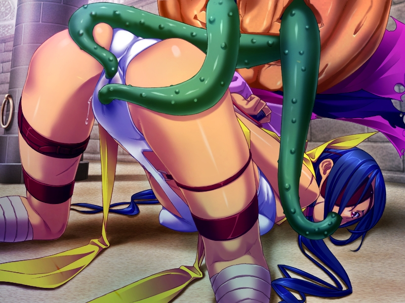 Slut getting her pussy teased by a tentacle hentai monster's tentacles.