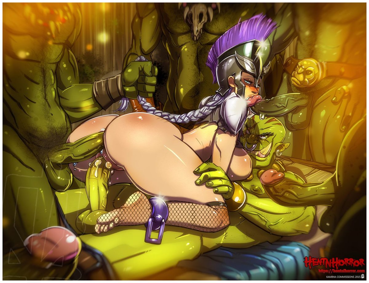 NSFW uncensored fantasy sex illustration of oppai hentai slut gang raped by monster cock in xxx art.