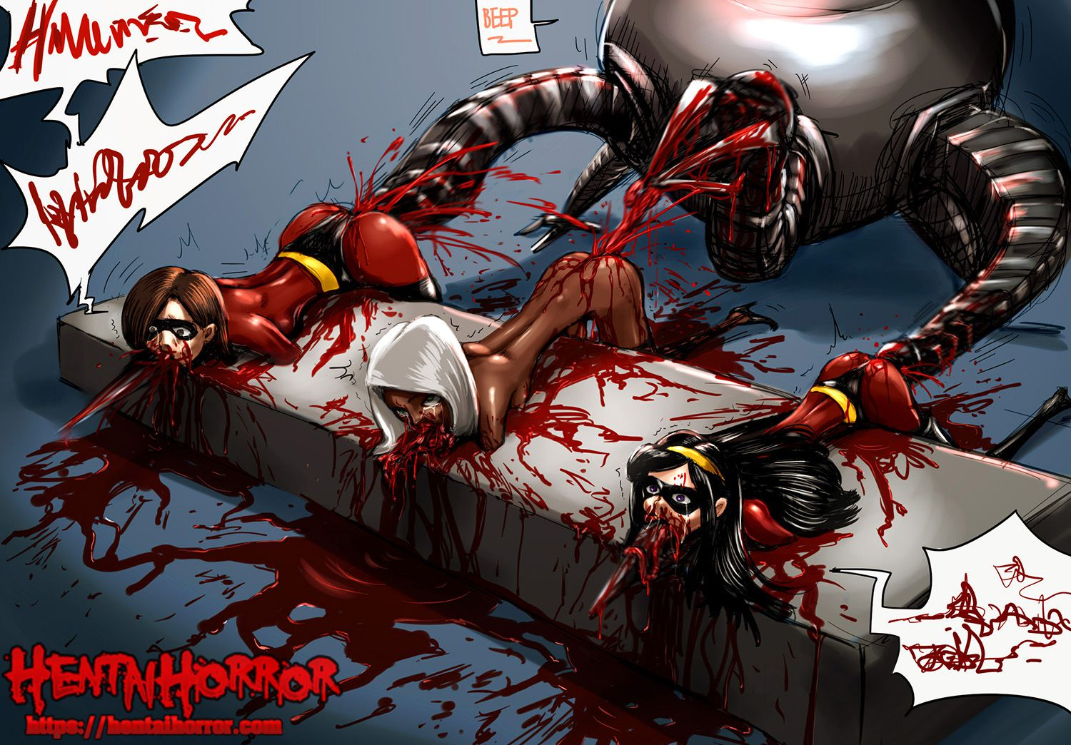 NSFW uncensored gore hentai cartoon porn art of Helen Parr, Violet Parr and Mirage raped to death by Omnidroid.