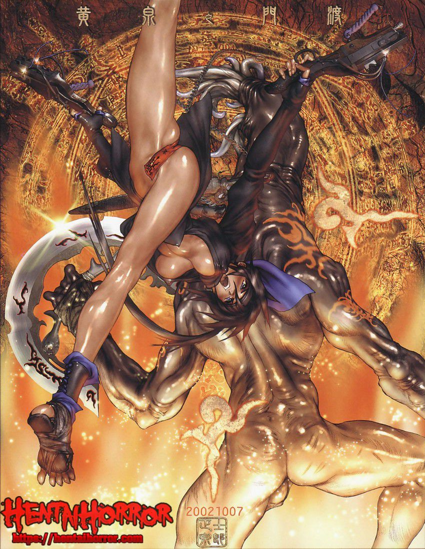 SFW uncensored oppai hentai monster manga illustration by Masamune Shirow of sexy babe fighting a ripped beast.