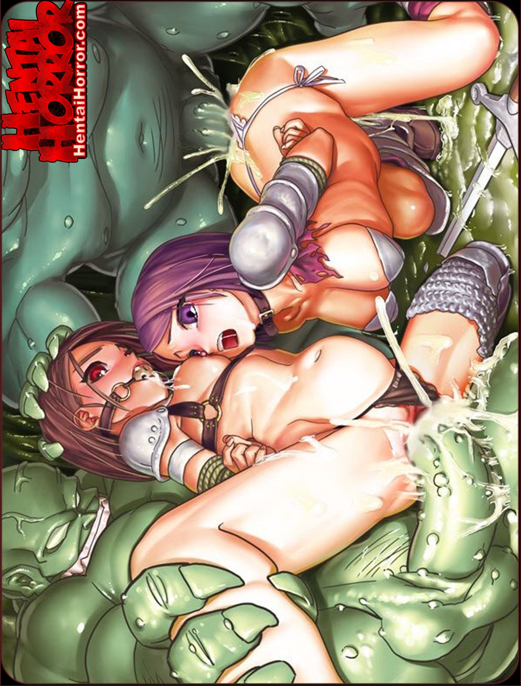 NSFW uncensored Dungeons & Dragons lolicon hentai monster cock sex porn art of babe gang raped by orc cocks.