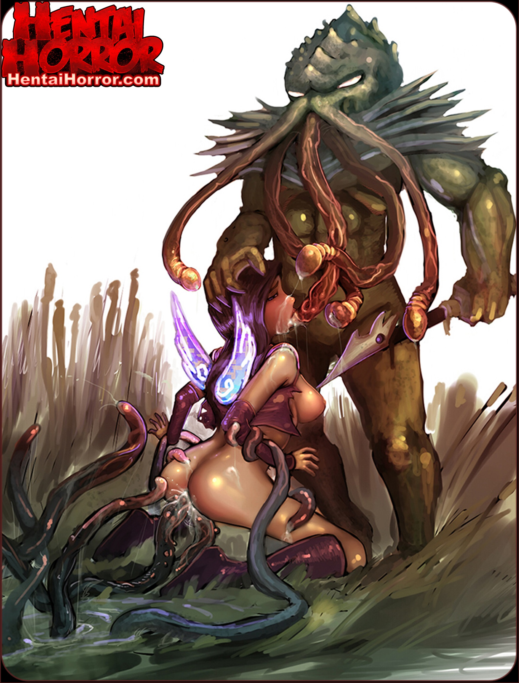 Uncensored tentacle hentai monster Cthulhu pulp fiction porn art of monster cock raping a big tits girl's face.