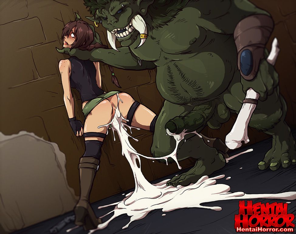 NSFW uncensored monster hentai horror art of dungeon game slut gushing cum after raped by an orc monster cock.