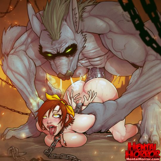 NSFW uncensored oppai hentai horror porn art of monster cock racoon wolf man beast raping busty big tits babe.