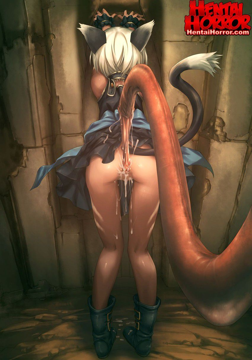 NSFW uncensored neko hentai cartoon porn of cat girl raped from behind by a tentacle horse cock in xxx art.